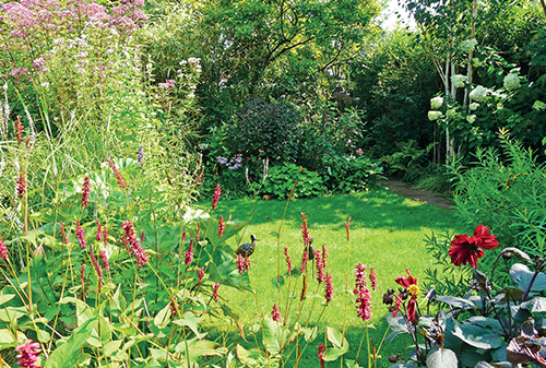 Trávník zdobí dvě ptačí plastiky, kolem rostou trvalky lákavé pro motýly a čmeláky.