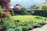 V místech, kde dříve hraničil trávník s dlažbou terasy, rostou po rekonstrukci zahrady převážně bylinky, růže i několik dalších suchomilných rostlin.