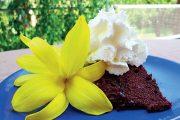 Domácí variace na Sacherův dort s denivkou žlutou.