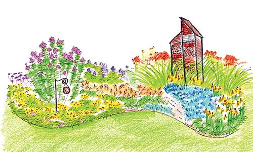 Návrh trvalkového záhonu se stavbami pro hmyz
