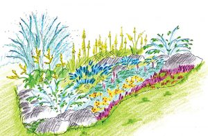 Návrh záhonu s kameny a suchovzdornými rostlinami