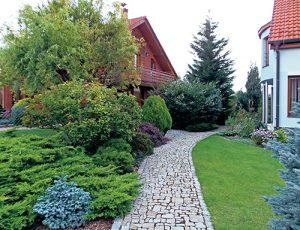 K hlavnímu vchodu do domu vede žulový chodník lemovaný výsadbou z listnatých a jehličnatých keřů.