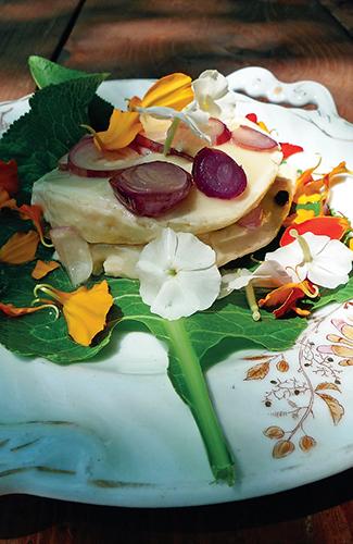 Křenový list a lístky aksamitníku doplňují pikantní chuť nakládaného sýru.