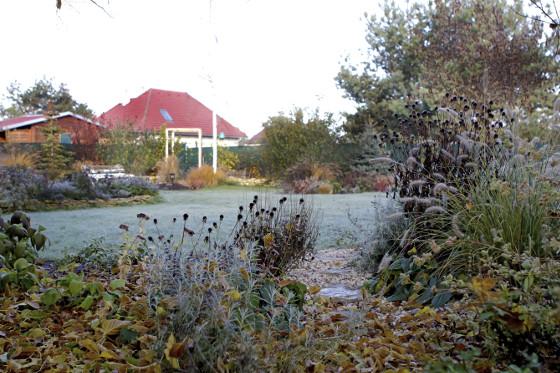 Majitelé nechtěli příliš velkou trávníkovou plochu, proto zde projektantka vytvořila různá zákoutí s trvalkami a dřevinami.